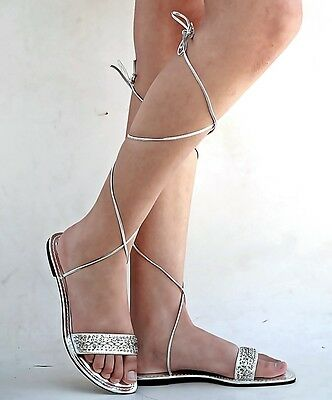 b50bf7cb3 ... New Womens XCh3 White Gold Silver Beaded Gladiator Wrap Lace Up Flat  Sandals 3
