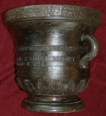 Italien Monumental Bronze Mörser Apotheke Weinranken Ornament Datiert 80 Kg 1643 4