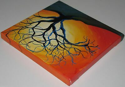 Bright Sun and Tree Acrylic Landscape Painting on Canvas Signed Mary Loos 5