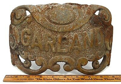 "Antique CAST IRON ""GARLAND"" STOVE PART 6x10"" Nameplate STEAMPUNK Repurpose DECOR 2"