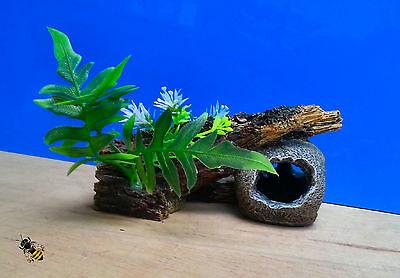 Aquarium Ornament Skull Log Plant Decoration Fish Bowl Tank Goldfish New 2 • EUR 15,26