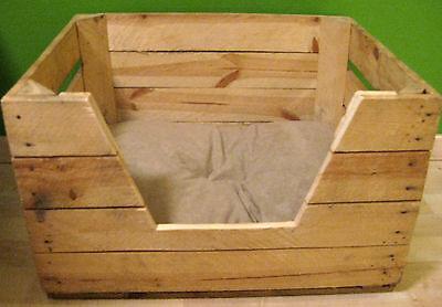 KATZENBETT Tierbett Hund Katze Bett Korb Körbchen Kissen OBSTKISTE Holz Kiste 2