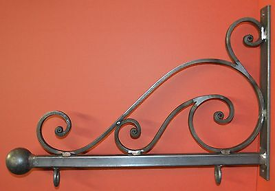 Wrought Iron Scroll Sign Bracket, Holder, 26 in., by Worthington Forge in USA 7
