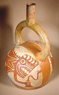 Pre-Columbian MOCHE FISH DEMON S/S VESSEL w/COA 2