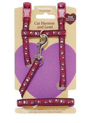 Rosewood Small Cat Kitten Nylon Adjustable Harness & Lead Set Pawprint 08062