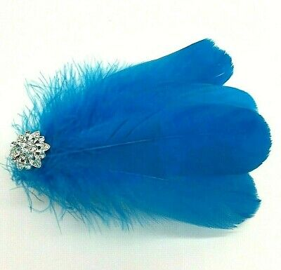 Asst Colour Silver Gem Feather Fascinator Diamante Hair Clip Vintage Style 5