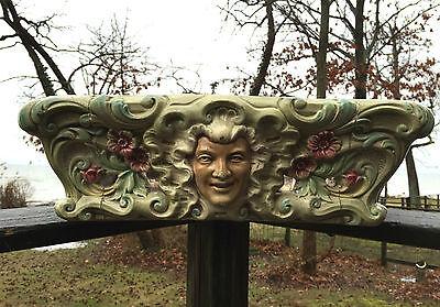 HEAVY Antique Majolica Pedestal Depose ORNATE FACES Base Ceramic ART Cement VTG 10
