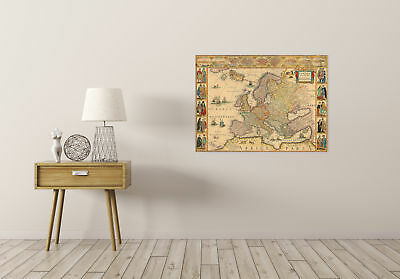 Map Antique Blaeu 1664 Europe Old Historic Large Replica Canvas Art Print 2
