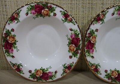2X Royal Albert Old Country Rose Set 2 Rim Soup Bowls Cereal Bowls Never Use 5