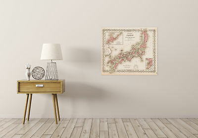 Map Antique Colton 1855 Japan Old Historic Large Replica Canvas Art Print 2