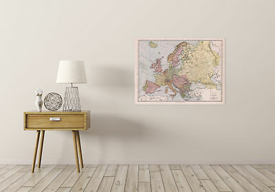 Map Antique Mcnally 1912 Europe Old Historic Large Replica Canvas Art Print 2
