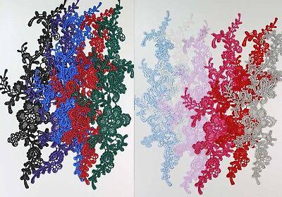 2 x Floral lace Applique / decorative sewing lace motifs 11 different colours #1 3