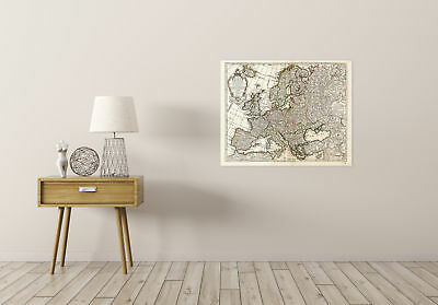 Map Antique L'isle 1769 Europe Old Historic Large Replica Canvas Art Print 2