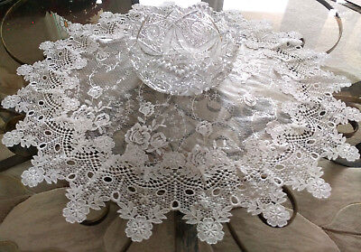 Doily Large 25 inch Sheer Vintage English Rose Victorian 2
