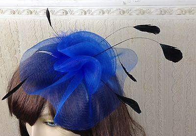 blue black feather hair headband fascinator millinery wedding hat ascot race 1 2