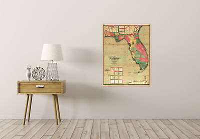 Map Antique Searcy 1829 Florida Old Historic Large Replica Canvas Art Print 2