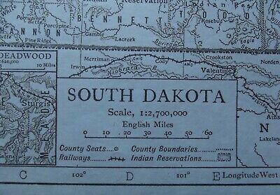 Vintage Map: South Dakota, United States, by Emery Walker, 1926, B/W 2