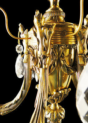 Antique French Louis XV style bronze and glass chandelier 3 • CAD $620.83