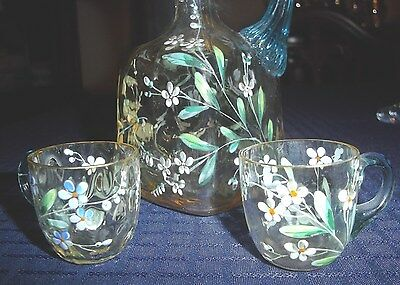 Rare 1880's New England Glass Hand-blown, Hand-painted Cordial Decanter & 2 Cups 8
