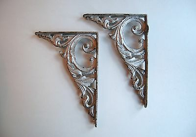 Cast iron wall brackets(2), vintage, painted silver 2