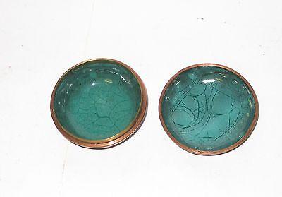 Rare Old Bronze Japanese Cloisonne Amber Enamel Bird Small Snuff Jar Bowl Box