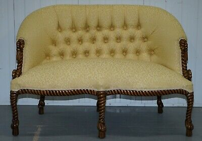 Rope Twist Napoleon Iii Style Suite Seating Armchair & Settee Chesterfield Sofa 3