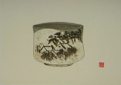 Painting - Bowl- Houses & Trees - Hand Painted On Paper- 1 Seal Of The Artist.