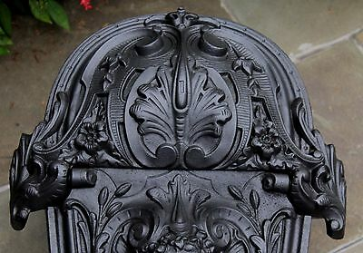 Antique French Gothic Victorian Cast Iron Fireplace Hearth Coal Hod Scuttle 3