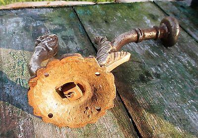 Antique Art Brass Hook Hat Holder Architectural Dog Hanger Decorative Ornate 5