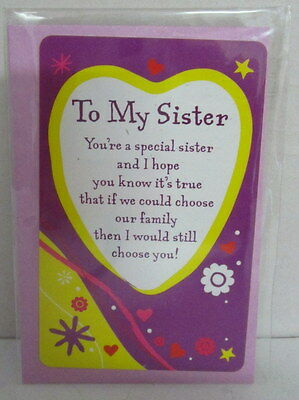 Heartwarmer Keepsake Message Card To My Sister Lovely Verse Birthday Gift 3