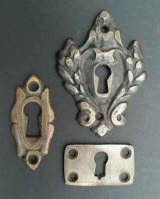 """6 various antique style escutcheon key hole covers ornate 1-3"""" solid brass #E 5"""