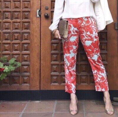 Banana Republic Womens Avery Cropped Pants Straight Print Pink Sz 2P 2 Petite 2