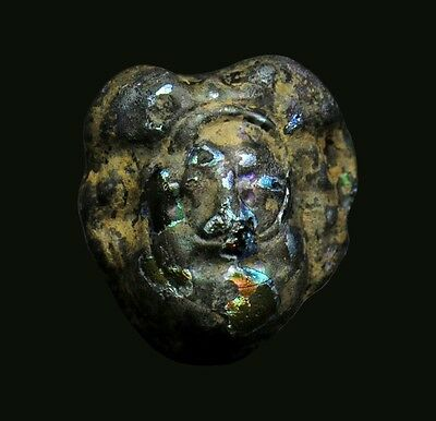 Aphrodite- Ancient Glass Applique Head Of A Female