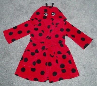 GIRLS ROBE/HOUSECOAT HOODED - LADYBIRD DESIGN RED & BLACK - GEORGE - AGE 2-3yrs 4