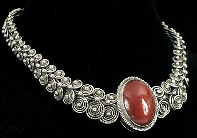 Antique Chinese Export Sterling Silver Poison Necklace Carnelian Pendant Choker 3