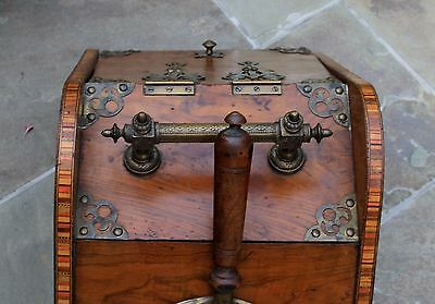 Antique French Burled & Inlaid Walnut Fireplace Hearth Coal Hod Scuttle Shovel 11