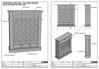 SOLID TIMBER WINE RACK + DRAWERS - Make Your Own & SAVE $ - Full Plans 2d & 3D 6