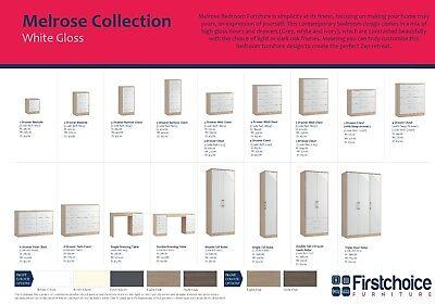 Melrose Oak Grey High Gloss Wardrobe Set Fully Ready Assembled Bedroom Furniture 2