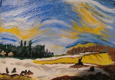 """A809          Acrylic Art Aceo Painting By Ljh      """"Snowy Landscape"""" 5"""