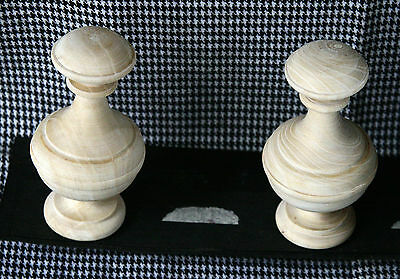 2 Wood FINIALS 80 mm for Antique Wall Clock / Barometer / Mirror / Furniture #9 2