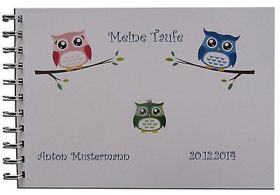 Spruch Zur Taufe Karte.Gästebuch Fotoalbum Taufe Geschenk Karte Einladung Baby Spruch Gedicht Eule A5