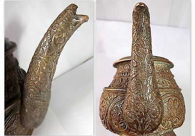 1700 Rare Copper Holy Water Pot Snake Floral Embossed Carved Water Pot Must See 7