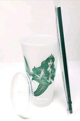 NEW Starbucks Mermaid Siren Cold Cup w/ Lid Straw  - Reusable Plastic Venti 24oz 6