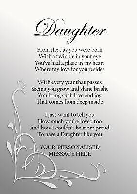 Personalised Birthday Gift For Daughter Keepsake Poem PRINT ONLY