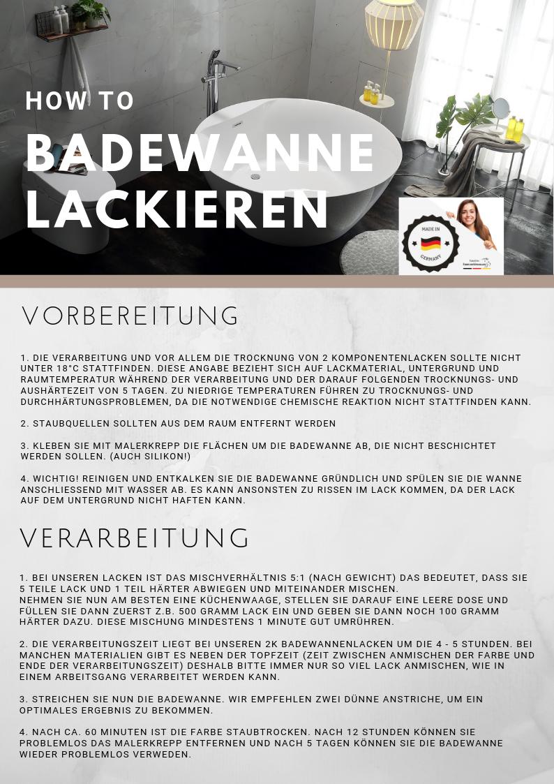 2K Badewannenlack GLÄNZEND Weiß RAL 9010 Badewannenbeschichtung SET 3