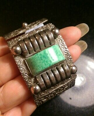 Art Deco Wide Machine Age Peking Glass And Metal Hinged Bracelet....repair 10