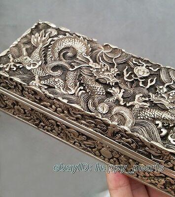 China Qing dynasty Handwork Miao silver dragon statue Bank money jewelry Box 3