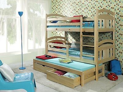 3 Of 5 Triple Bunk Beds Children S Mattresses Storage Drawers White Pine Pink Meggi