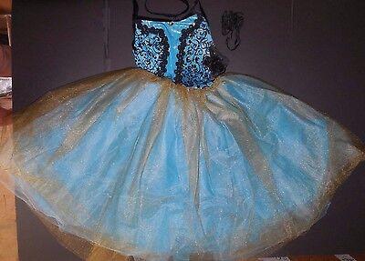 NWT Gold Touched Romantic Length aqua Ballet Costume Scrollwork bodice 5 tr tutu