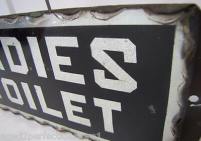 Antique Ladies Toilet Chip Glass Sign L'adies thick scalloped edge tin frame adv 8